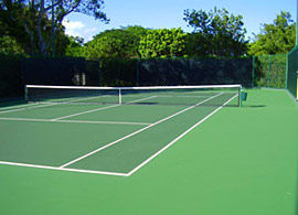 tennis court after resurfacing/maintenance